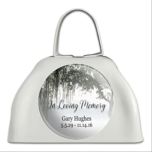 Graphics and More Personalized Custom In Loving Memory Willow Tree Memorial White Cowbell Cow (Personalized Cowbells)