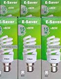 E-Saver - CFL Full Spiral - Energy Saving Light Bulbs - 15w = 80 watt - (Pack of 6) - Cool White 4200k - Bayonet Cap (BC- B22- B22d)
