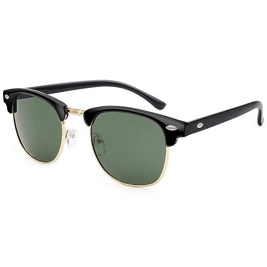 af8a07629bdf Livhò Polarized Sunglasses Women Men Semi Rimless Frame Retro Sunglasses  (Black Green)