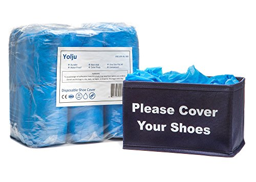 Yolju 300 Pack Disposable Shoe Covers with a Bonus Small Storage Box | Waterproof, Non Slip, Durable CPE Material ()