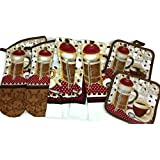 Coffee Theme Kitchen Linen Set (2040) (Includes: two oven mitts, two dish towels, and two pot holders)
