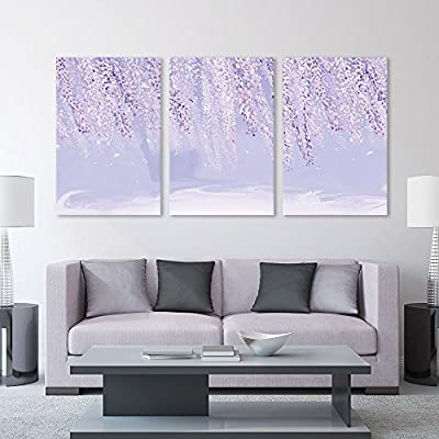 3 Panel Abstract Landscape with Pink Leaves x 3 Panels, That's 100% USA Made, Dazzling Visual