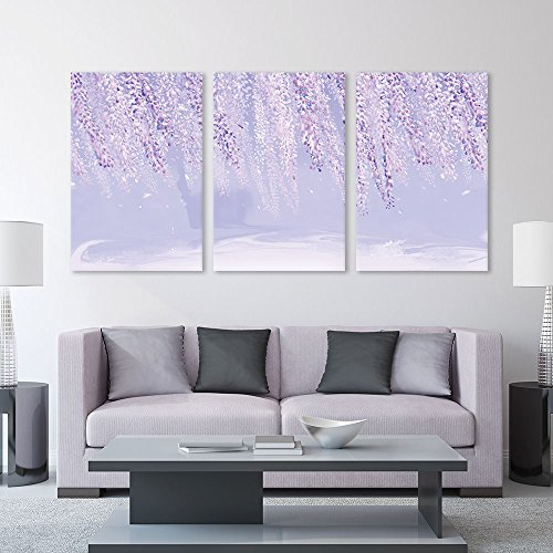 3 Panel Abstract Landscape with Pink Leaves x 3 Panels