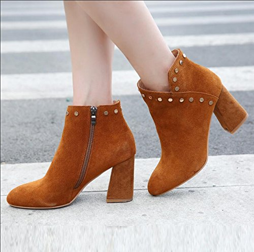Ankle KHSKX Brown With Side Matte Thick Version High Boots Rivets Heeled Zip 8Cm Of Boots 37 Head Leather New Winter Round The Boots Korean Women BwrFwqd
