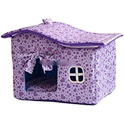 Byx- Pet Nest - with Curtains Kennel Winter House Washable Pet Dog House Teddy Kennel Dog House Cat Litter Cotton Nest Gift Blanket @ (Color : A, Size : 50X36X40CM)