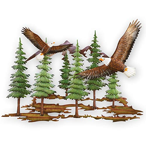 Collections Etc Bald Eagles and Pine Forest Metal Wall Art with Hooks for Easy Hanging - Decorative Accent for Any Room in Home