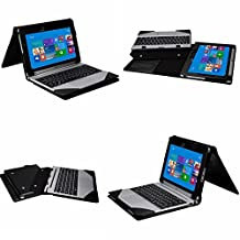 Acer Aspire Switch 10 E Case,Mama Mouth Leather Keyboard Portfolio Stand Case Cover For Acer Aspire Switch 10 E SW3-013-1369 SW3-013-105N Detachable 2 in 1 Touchscreen Laptop,Black