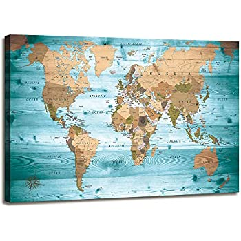 World Map Wall Art for Living Room Vintage Photos World Map Poster Painting Nautical Office Wall Art Modern Framed Artwork Map of The World Canvas Art Canvas Prints Travel Memory Home Decor 24x36 inch