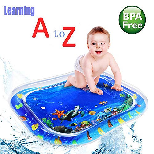 GreenItem Baby Water Mat Tummy Time 2019 Learning Alphabet Water Inflatable Non Toxic Playmat Earlyear Baby Indoor Outdoor Crawling Pad Cushion Activity Centre (30