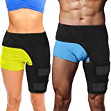 Hip Brace Thigh Compression Sleeve - Hamstring Compression Sleeve & Groin Compression Wrap for Hip Pain Relief. Support for Hip Replacements, Sciatica, Quad Muscle Strains Fits Both Legs (LG/Left)