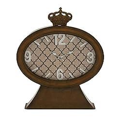 Benzara 20345 Vintage Themed Metal Wood Table Clock