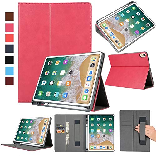 Price comparison product image iPad Pro 12.9-inch (2nd Gen,  2017) & iPad Pro 12.9 (1st Gen,  2015), Premium PU Leather Case Auto Sleep / Wake Case with Pencil Holder Tablet Smart Stand Case Slim Fit Cover with Card Slot and Hand Strap