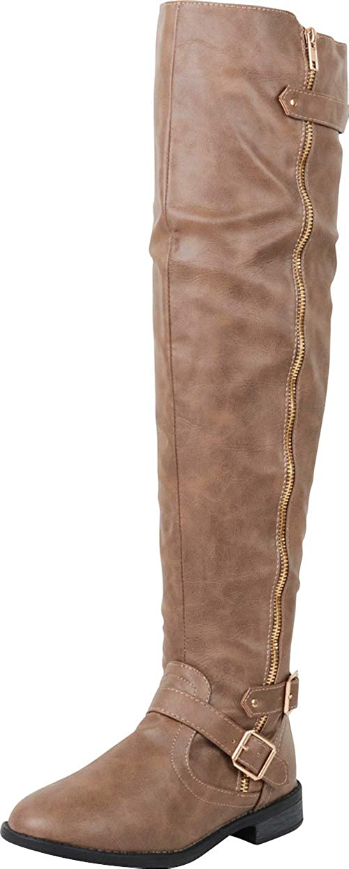 Taupe Pu Cambridge Select Women's Thigh-High Strappy Buckle Riding Over The Knee Boot