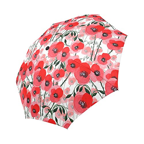 InterestPrint Poppies Blossom Windproof Automatic Open And Close Foldable Umbrella,Girly Flower Travel Compact Unbreakable Rain And Sun Umbrella,Orange Red ()