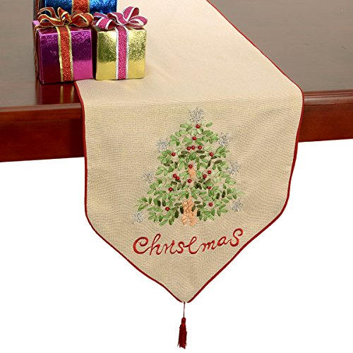 Grelucgo Merry Christmas Gold Holiday Table Runners Silk Ribbon Embroidery Holly Tree 16