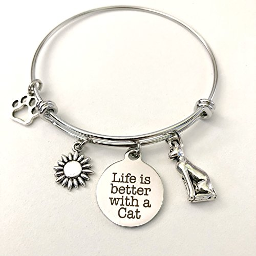Life is Better With a Cat | Charm Bracelet for Cat Lovers | Cat Jewelry