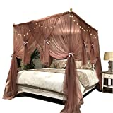 Joyreap Mosquito Bed Canopy Net - Luxury Canopy Netting - 4 Corners Post Bed Canopies - Princess Style Bedroom Decoration for Adults &Girls - Full/Queen/King (Reddish-Brown, 59'' W x 78'' L)
