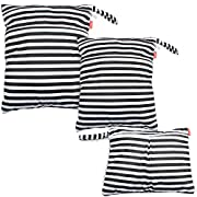 Damero 3pcs Travel Wet and Dry Bag with Handle for Cloth Diaper, Pumping Parts, Clothes, Swimsuit and More, Easy to Grab and Go, Black Strips