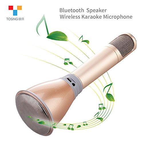 TOSING K068 Wireless Karaoke Microphones Bluetooth Speaker Portable KTV Player Mini Home KTV Music Playing and Singing Machine System for iPhone/Android Smartphone/Tablet (gold) (Telephone Number For Amazone)