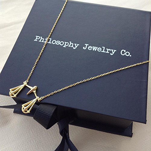 Scales of Justice Necklace - Gold Plated Sterling Silver Stamped/Lawyers, Judge, Paralegal - w/Gift Box (Plated Gold Justice)