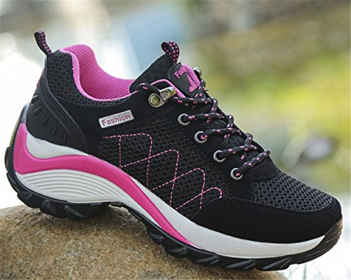 mogeek Deporte Plataforma Exterior Para Deportes Running Aire y de Zapatillas de Zapatillas Libre Asfalto EN Negro Mujer rOqrC