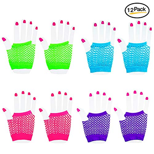Novelty Place Neon Gloves Fingerless Diva Fishnet Wrist Gloves Assorted Neon Colors (12 Pairs) -