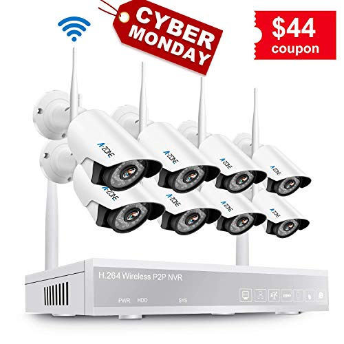 Wireless Security Camera System, A-Zone 8CH 1080P Wireless NVR with 8Pcs 1080P HD Outdoor Indoor Wireless IP Cameras Night Vision, P2P, Easy Remote View, No Hard Drive