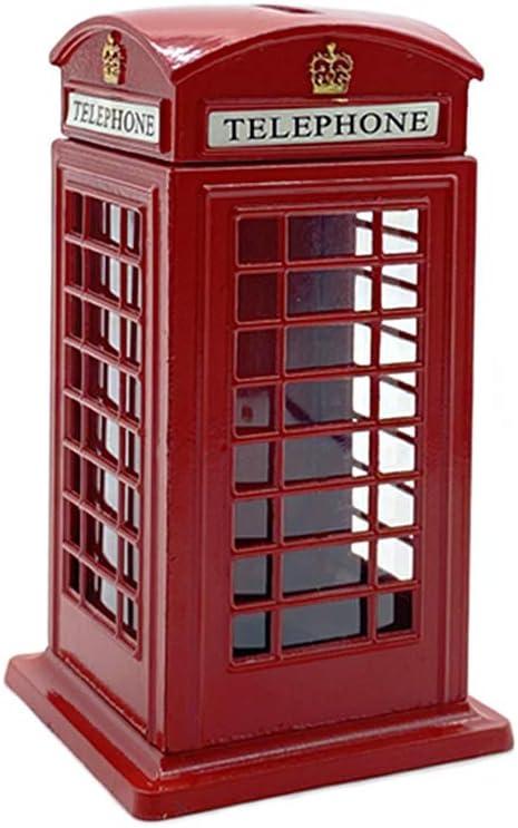 "Cafurty Telephone Piggy Bank, Red Metal London Street Telephone Booth Piggy Bank Coin Bank Coin Box - Mini(4.5"" H)"