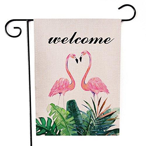 Ogiselestyle Welcome Summer Garden Flag Hello Flamingo Double