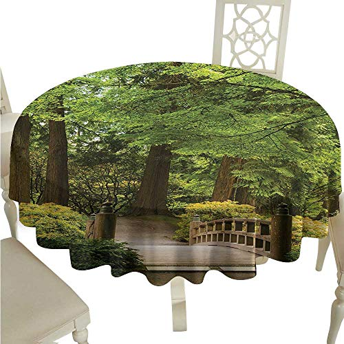 longbuyer Round Tablecloth spillproof Japanese,Wooden Bridge Over Pond in Garden Calmness in Shadow of Trees Serenity in Nature,Green Brown D54,for Bistro Table - Bridge Pond Over