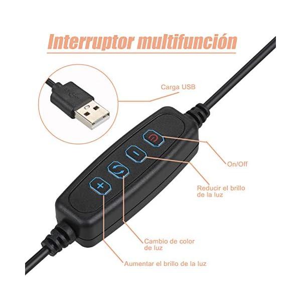 Interruptor multifunción para aro de luz led con trípode. Controla el modo y la intensidad de la luz.