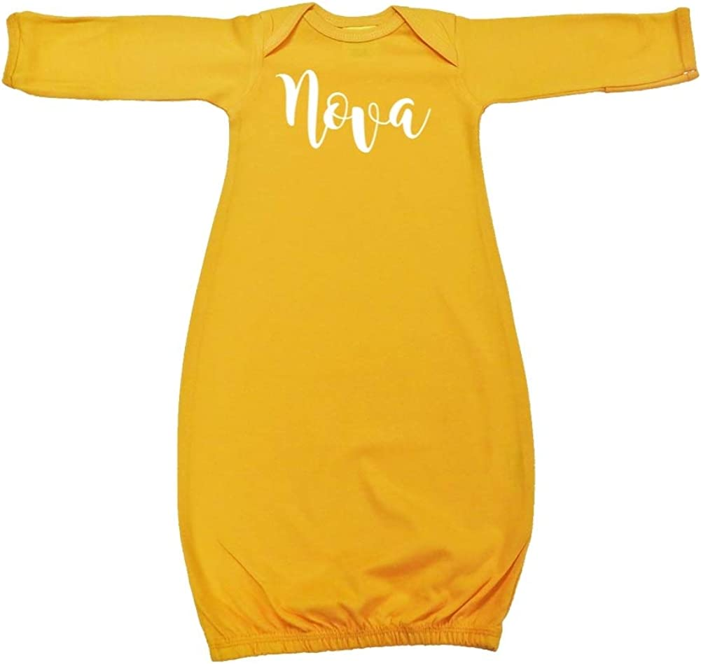 Nova Personalized Name Baby Cotton Sleeper Gown