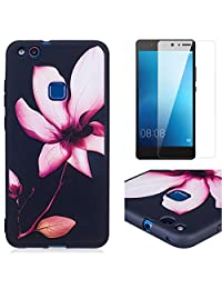 For Huawei P10 Lite Case and Screen Protector,OYIME Luxury [Pink Lotus] Relief Pattern Design Black Silicone Rubber Ultra Thin Slim Fit Bumper Drop Protection Anti-Scratch Protective Back Cover