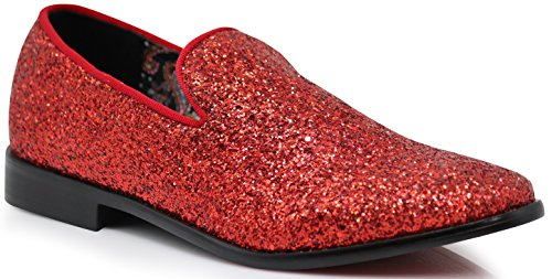 (SPK04 Men's Vintage Glitter Dress Loafers Slip On Shoes Classic Tuxedo Dress Shoes (12 D(M) US, Red))
