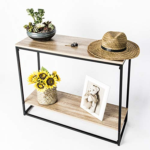 C-Hopetree Hallway Table Console Sofa Entryway Display with Storage Shelf Industrial Style Wood Look Metal Frame
