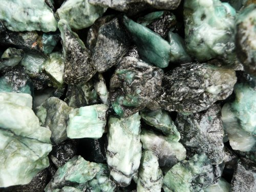 Fantasia Materials: 1 lb Unsearched Emerald Mine Run Rough - Raw Natural Crystals for Cabbing, Cutting, Lapidary, Tumbling, Polishing, Wire Wrapping, Wicca and Reiki Crystal HealingWholesale Lot