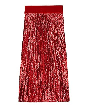 Uterque Women Pleated Sequinned Skirt 0308/259 (Small) Red