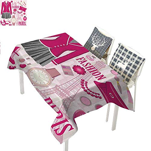 WilliamsDecor Girls Square Tablecloth Fashion Theme in Paris with Outfits Dress Watch Purse Perfume Parisienne LandmarkPink Biege Rectangle Tablecloth W60 xL84 inch