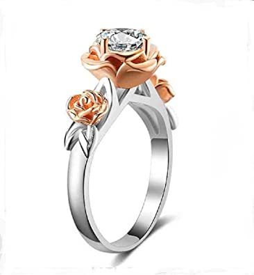 KHLSHOP Natural Topaz Rose Flower Crystal Engagement Ring Beauty And ...