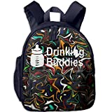 Drinking Buddies Printed Kids School Backpack Cool Children Bookbag Navy