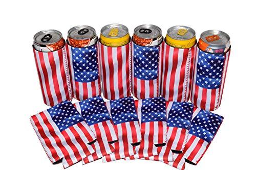 QualityPerfection 6 Slim American US Flag in The Wind - Neoprene Can Sleeves,Slim Beer Can Coolers,Energy Can Sleeves Great 4 Holidays,Sport/Business Events,Parties,Independence Day,BBQ,4th Of July by QualityPerfection (Image #8)