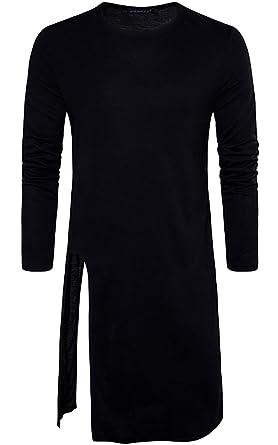 0341c83c9 GAGA Men's Round Neck Fashion Hip-hop Split Solid Color Long T-Shirt Top
