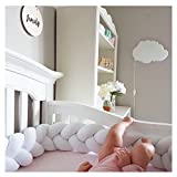 Infant Soft Pad Braided Crib Bumper Knot Pillow Cushion Cradle Decor for Baby Girl and Boy (White, 157'')