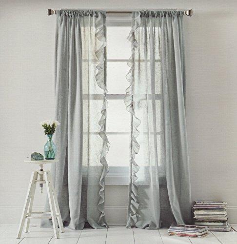 Dkny Grey Sheer Ruffle Window Curtain Panel 50 By 84 Inch
