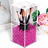 Putwo Clear Acrylic Makeup Organizer with Glossy Rosy Pearl - Small