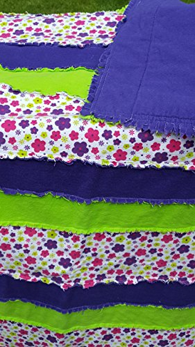 Flannel Rag Quilt  Purple and Green