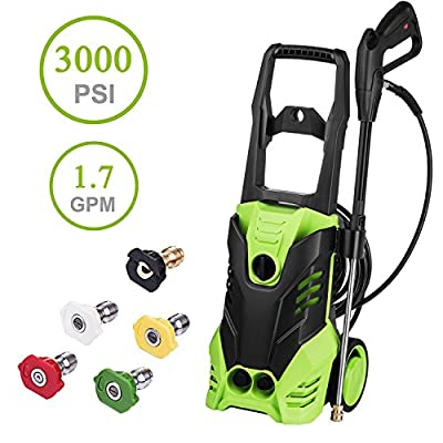 Hurbo 3000PSI 1.7GPM Electric High Pressure Washer Cleaner Machine with Power Hose Gun Turbo Wand 5 Interchangeable Nozzles