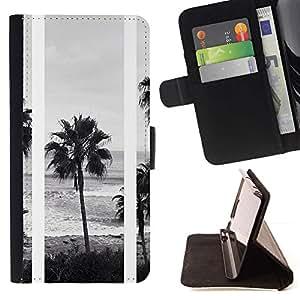 Momo Phone Case / Flip Funda de Cuero Case Cover - Árboles Negro Blanco Foto Playa - Sony Xperia Z3 D6603