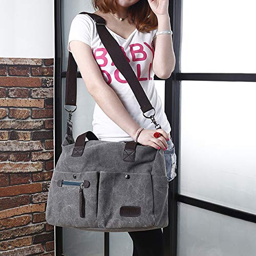 Gray Travel Tote Shoulder Vintage Hobo Shopping Handbag Handbag Large Womens Bags Nlyefa Office School Canvas Bag for waqx601
