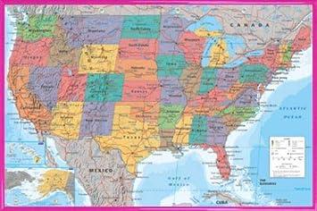 Carta Geografica delle Stati Uniti 1art1 Carte in Inglese Poster Stampa 91 x 61cm